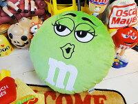 m&m'sのクッション(グリーン)★アメリカ雑貨★アメリカン雑貨★アメキャラ