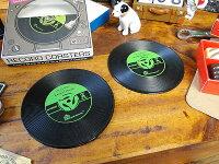 レコードコースター2枚セット(グリーン)★アメリカ雑貨★アメリカン雑貨