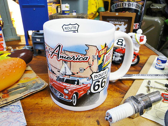 ルート66のマグカップ(名所マップ)★マグカップ★アメリカ雑貨★アメリカン雑貨