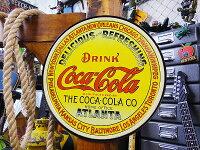 コカ・コーラブランドイエローラウンドのブリキ看板★コカコーラグッズ雑貨グッズブランドCoca-Colaアメリカ雑貨アメリカン雑貨