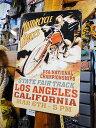 モーターサイクルレース・カリフォルニアのU.S.ヘヴィースチールサイン...
