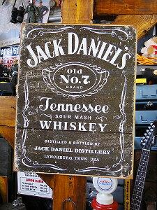 アメリカ ブリキ看板 ジャック・ダニエルのブリキ看板 ウッドカットロゴ ■ サインプレート ブ…