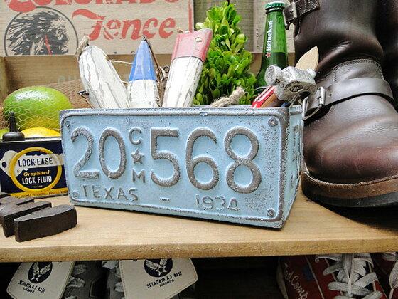 ナンバープレートのプランター(Lサイズ/ブルー)★アメリカ雑貨★アメリカン雑貨