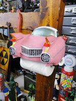 クラシックカーのトイレットペーパーホルダー(ピンクキャデラック)■アメリカ雑貨アメリカン雑貨