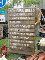 「男の隠れ家のルール」のウッドボード■アメリカ雑貨アメリカン雑貨