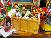 コンテナ木箱の小物入れ(スタンダードL/ブラウン)■アメリカ雑貨アメリカン雑貨
