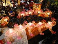 ピンクフラミンゴの10連パーティーライト■アメリカ雑貨アメリカン雑貨