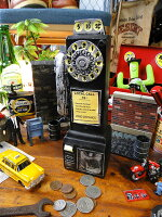 アメリカの公衆電話のレジン製バンクオブジェ(ブラック)■アメリカ雑貨アメリカン雑貨