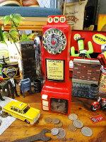 アメリカの公衆電話のレジン製バンクオブジェ(レッド)■アメリカ雑貨アメリカン雑貨