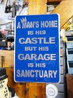 「マイホームは男の城ガレージは男の聖域」のミニブリキ看板■アメリカ看板アメリカ雑貨インテリア雑貨アメリカン雑貨
