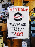 「俺のガレージでのルール」のミニブリキ看板■アメリカ看板アメリカ雑貨インテリア雑貨アメリカン雑貨