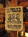 西部のお尋ね者ポスターの木製看板(ヤンガー) ■ アメリカ雑貨 アメリ...