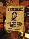 西部のお尋ね者ポスターの木製看板(アパッチキッド) ■ アメリカ雑貨 ...