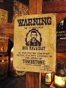 西部のお尋ね者ポスターの木製看板(ドッグ・ホリデー) ■ アメリカ雑貨...