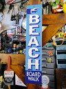 ビーチはこちらの案内看板 ■ アメリカ看板 ティンサイン サインボード...