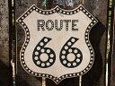 ルート66ロードサイドショップのウッドサイン(ルート66/ドット) ■ 木製 ウッド アメリカ 看板 サインプレート サインボード アンティー..