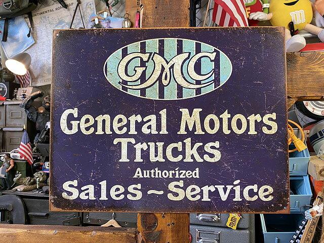 GMCのブリキ看板(ゼネラルモーターズトラック)