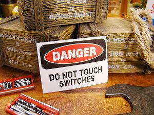 警告サインをモチーフにしたミニサイズのステッカー!USAサインプレートステッカー(危険!スイ...