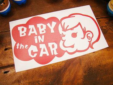 「赤ちゃん乗ってます」のアメリカンステッカー(レッド) ■ 自分仕様だから愛着も強くなる! こだわり派が夢中になる人気のアメリカ雑貨屋 ステッカー アメリカン雑貨 車 バイク スーツケース かわいい デカール シール アルファベット カー用品 リアガラス