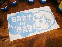 「赤ちゃん乗ってます」のアメリカンステッカー(スカイブルー)★アメリカ雑貨★アメリカン雑貨シール