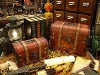 アンティーク宝箱型ボックス大小2個セット★木箱★アメリカ雑貨★アメリカン雑貨
