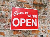 オープン&クローズのプラスチックサインボードLサイズ(レッド/横型)★アメリカ雑貨★アメリカン雑貨