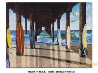 アメリカンブリキ看板カリフォルニアの桟橋とサーフボード