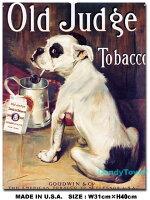 アメリカンブリキ看板たばこを吸うブルドッグ