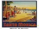 サンタモニカビーチのトラベルポスター