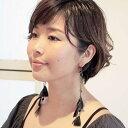 ピアス 羽根 フェザー 羽飾り(黒×ストーン)レディース メンズ ビジュー チェーン ハロウィン コ