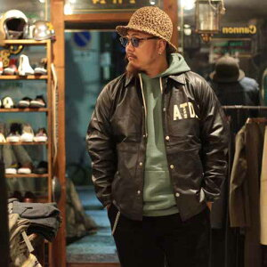 """AT-DIRTY""""ATDLEATHERCOACHJACKET""""BLACK【AT-DIRTY】(アットダーティー)正規取扱店(OfficialDealer)CannonBall(キャノンボール)【あす楽対応/送料無料/コーチジャケット】"""