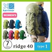 <2017年春夏新作!> カリマー リッジ 40 タイプ1 【送料無料】 karrimor ridge 40 type1 リュックサック リュック ザック バックパック 40L 40リットル 登山 トレッキング 女性用 バックレングス 42cm