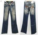 ●R.P.B due 【エールペベ】※色焼けあり ポケット刺繍フレア デニム ブールカット ウォッシュ 106-62173