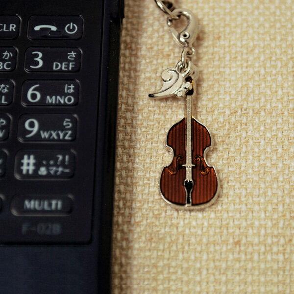 コントラバス 携帯ストラップ♪♪お取り寄せ商品です。【弦楽器・携帯ストラップ-音楽雑貨】【楽器-音楽雑貨】《音楽・バレエ・ねこ雑貨のカンタービレ》スタンド ケース付き 音楽雑貨 楽器 発表会 記念品 プレゼント 部活ストラップ ♪