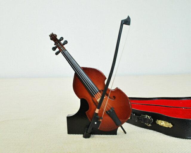 ミニチュア楽器!コントラバス 14cmサイズ♪お取り寄せ商品です♪♪《音楽・バレエ・ねこ雑貨のカンタービレ》スタンド ケース付き 音楽雑貨 楽器 発表会 記念品 プレゼント ギフト にも♪【楽器-音楽雑貨】 ベース ジャズ