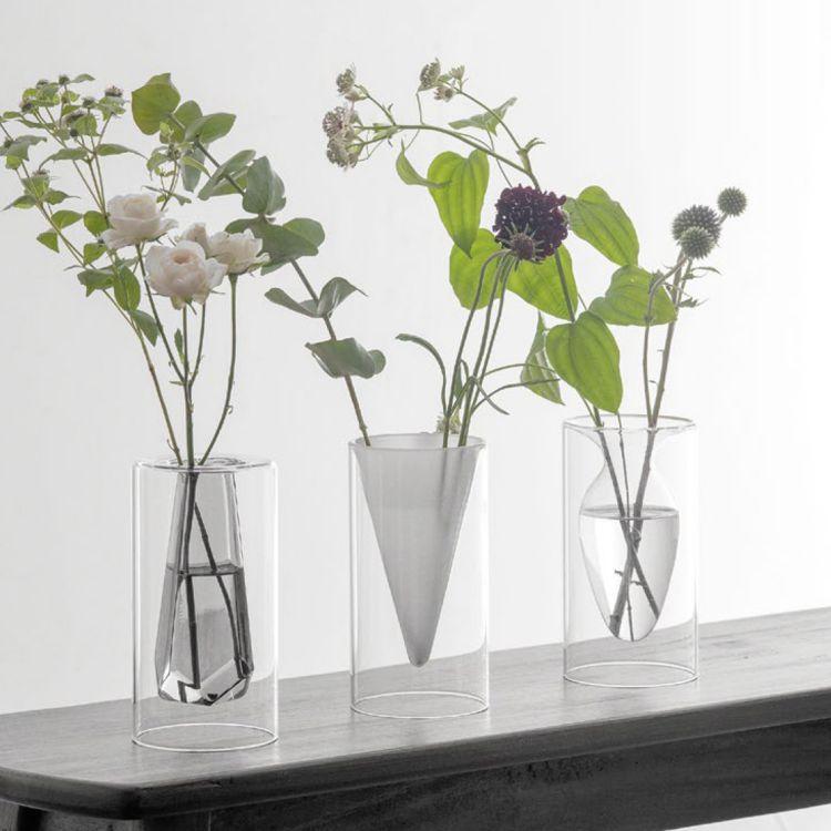 花瓶 フロートベース フラワーベース ガラス 一輪挿し ダブルウォール 二重 インテリア クリア ホワイト グレー 玄関 モダンリビング 模様替え ディスプレイ デコレーション ナチュラル 北欧 おしゃれ かびん 花器 花びん レトロ 食卓 シンプル
