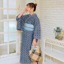 浴衣 セット レディース 浴衣 3点セット(浴衣/帯/下駄)日本製生地 国産生地 着物 きもの 単衣 ひとえ 綿100% コットン ファブリック着物 レース 刺繍レース ダンガリー デニム 紺 ネイビー 青  浴衣セット ゆかた 女性 レトロ フリーサイズ