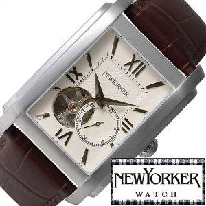 ニューヨーカー腕時計NEWYORKER時計NEWYORKER腕時計ニューヨーカー時計ビルスクエアBuildsquarメンズ/ホワイトNY004-07[オープンハートトラッドクラシックルイ15世リューズ/自動巻きスケルトンテンプ][送料無料]