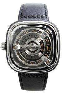 セブンフライデー腕時計SEVENFRIDAY時計SEVENFRIDAY腕時計セブンフライデー時計エムシリーズMSERIESメンズ/シルバーM1-03[革ベルト/機械式/自動巻/メカニカル/スイス/ブラック/グレー/M103]