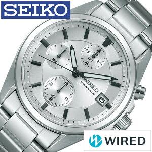 ワイアード腕時計[WIRED時計](WIRED腕時計ワイアード時計)メンズ/腕時計/シルバー/AGAT411[メタルベルト/正規品/防水/SEIKO/クロノグラフ/ワイヤード/ブラック][送料無料]