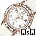 キューアンドキュー腕時計[Q&Q時計](Q&Q腕時計キューアンドキュー時計)アトラクティブ(ATTRACTIVE)レディース/腕時計/ホワイト/DA75J104[人気/流行/ブランド/海外モデル/防水/レザーベルト/革/かわいい/白蝶貝/ピンクゴールド]