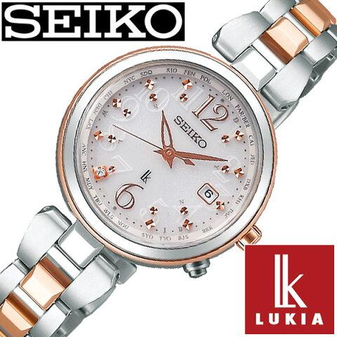 セイコー ルキア 腕時計 レディース (電池交換不要) ソーラー 電波 セイコールキア腕時計 SEIKOLUKIA時計 SEIKO LUKIA 腕時計 ルキア時計 シルバー SSQV048 [ ダイヤ ゴールド カレンダー シンプル ラウンド かわいい ] 誕生日