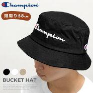 チャンピオン帽子バケットハットChampionゆうパケット送料無料別注バケハバケットメンズレディースワンポイントキャップロゴCAPブラックホワイトベージュストリート
