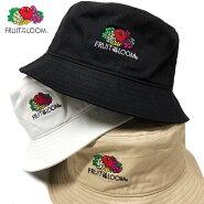 【ゆうパケット送料無料】フルーツオブザルームバケットハットキャップ帽子FRUITOFTHELOOM別注ロゴバケハバケットブラックホワイトベージュメンズレディースかわいい