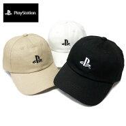 PlayStationプレステプレイステーションローキャップ帽子ゆうパケット送料無料ブラックホワイトベージュカーブキャップフェスメンズレディース刺繍LOGOコットン綿6パネルゲーム