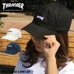 キャップTHRASHERスラッシャーcap帽子送料無料MAGマグロゴストリートスケボーコットンキャップLOWキャップローキャップカーブキャップ6パネルPOLOCAPポロキャップワークキャップ浅ブラックホワイト無地メンズレディース