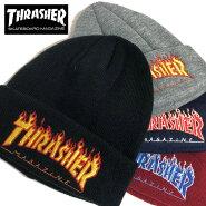 THRASHERスラッシャーニット帽ゆうパケット送料無料ニットキャップメンズレディースブランドビーニーブラックグレーネイビーバーガンディーカフフレームロゴフレイムFLAMEロゴBEANIEスワッチスケートフェスアクリル