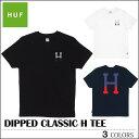 ※HUF-Tシャツ袋対象※【ゆうパケット送料180円】 新作 HUF ハフ Tシャツ ブラック ホワイト ネイビー DIPPED CLASSIC H TEE トップス スケート メンズ レディース