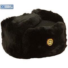 ロシア軍 海軍将校用防寒帽 (ロシア海軍帽章付)ブラック