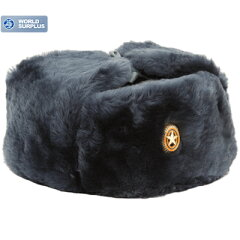 ロシア軍 陸軍将校用防寒帽 (ロシア陸軍将校用帽章付)グレー